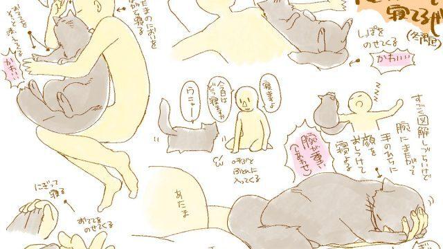 こんなことがあっていいのか猫と一緒に寝る様子を描いたイラストが