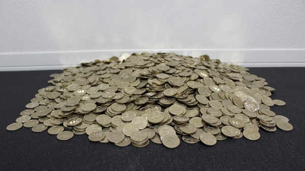 山になった500円玉
